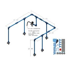 Fast Pipe 1 in 235 foot Kit - Air Lines, Hoses & Reels - Air Management - Tools & Equipment Hose Reel, Air Compressor, Tools And Equipment, Plumbing, Air Lines, Kit, Garage, Management, Google Search