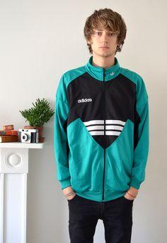 90922ca111 80s Vintage Green and Black Adidas Track Jacket