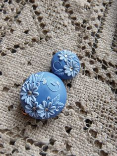 Artisan Polymer Clay Bead Set  - Focal Bead - Accent Beads - Floral Embroidery  - Moobie Grace Designs - Shabby Chic - Handmade