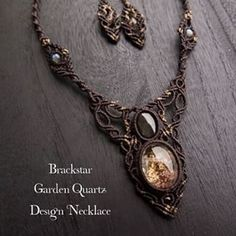 http://www.stonesspirit.com/?pid=83583072/ #jewelry #necklace #stone #garden quartz #black star #macrame