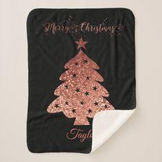 Merry Christmas Blanket #Christmas #blanket #Christmastree #MissRhoadie #Zazzle