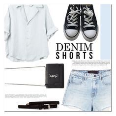 """Casual Saturday"" by makeupgoddess ❤ liked on Polyvore featuring Alexander Wang, Pieces, Converse, Yves Saint Laurent, jeanshorts, denimshorts and cutoffs"