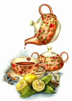 Good Afternoon everyone xxx❤❤❤💌🍀❄🍀 Decoupage Vintage, Decoupage Paper, Vintage Diy, Vintage Paper, Vintage Teacups, Tee Kunst, Et Wallpaper, Teapots And Cups, Tea Art