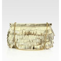 MILLY Nikki Metallic Leather Fringe Convertible Clutch ($350) found on Polyvore