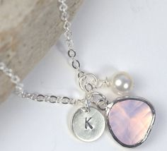 October Birthstone Silver Necklace Opal Necklace by TheresaRose