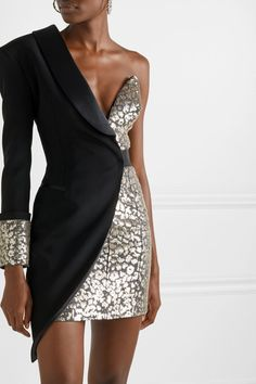Redemption – One-sleeve layered embellished satin-crepe mini dress – Women's Fashion Cute Formal Dresses, Mini Dress Formal, Formal Dresses With Sleeves, Elegant Dresses, Short Dresses, Dresses For Work, Sexy Dresses, Classic Dresses, Backless Dresses
