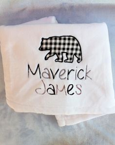 This luxuriously soft, monogrammed baby boy blanket comes beautifully personalized with the baby boys name under an adorable buffalo plaid bear applique. It makes the perfect gift for a new baby! Embroidered Baby Blankets, Soft Baby Blankets, Minky Baby Blanket, Bear Blanket, Unique Baby Gifts, Baby Girl Gifts, New Baby Gifts, Personalized Baby Blankets, Personalized Baby Gifts