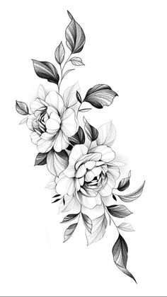 Cover Up Tattoos, Mini Tattoos, Flower Tattoos, Black Tattoos, Tattoo Design Drawings, Tattoo Designs, Knee Tattoo, Flower Outline, Outline Designs