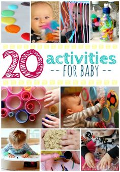 20 Activities For Baby Where play and imagination meet!These 20 activities for baby are so much fun!Babies love to play too! Which activity will you try with baby 7 Month Old Baby Activities, Baby Learning Activities, Infant Sensory Activities, Baby Sensory Play, Nursery Activities, Montessori Activities, Baby Play, Child Development Activities, 11 Month Old Baby