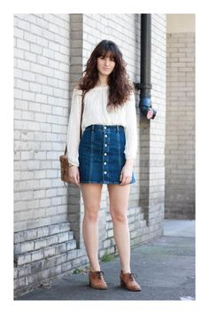 20 Modern Ways to Style a Denim Skirt for Spring - channeling the in a button down denim mini skirt + long sleeve white blouse Denim Skirt Outfit Summer, Jean Skirt Outfits, Blue Denim Skirt, Casual Skirt Outfits, Stylish Outfits, Button Down Denim Skirt, Jean Skirts, Modest Outfits, Cute Fashion