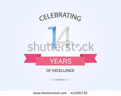 14 years anniversary, signs, symbols, simple design with red ribbon. - stock vector