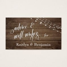 Rustic Brown Wood & Lights Advice and Well-Wishes Business Card - barn gifts style ideas unique custom