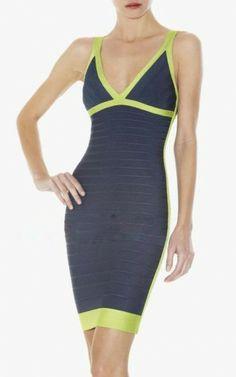 Color-Blocked Herve Leger V-Neck Short Bandage Dress