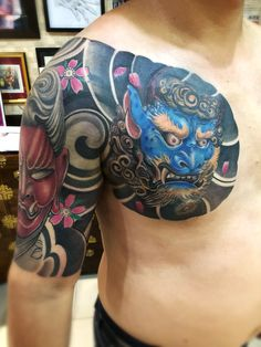Japanese tattoo japan mask tattoo sleeve tattoo by Michael Chan One more session to finish Japanese Tattoo Art, Japanese Tattoo Designs, Japanese Sleeve Tattoos, Dragon Tattoos For Men, Tattoos For Guys, Hanya Mask Tattoo, Koi Fish Tattoo, Japan Tattoo, Irezumi Tattoos