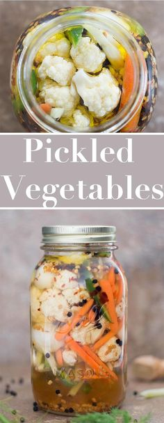 Pickled vegetables are easy to make using cauliflower peppers. Pickled vegetables are easy to make using cauliflower peppers fennel onions garlic and carrots. Put any veggies in a simple vinegar and oil brine Vegetable Recipes, Vegetarian Recipes, Healthy Recipes, Healthy Snacks, Dinner Healthy, Vegan Meals, Pickeling Recipes, Dinner Recipes, Cheap Recipes