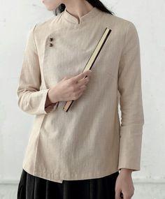 Standup Collar Retro Mandarian Ramie Shirt Batik Fashion, Shirt Blouses, Shirts, Linen Dresses, Fashion Outfits, Womens Fashion, Blouse Designs, Mantel, Designer Dresses