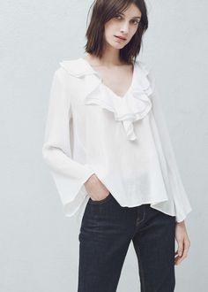 Blouse col volants - Chemises pour Femme   MANGO