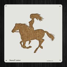Cowgirl Girl Woman on Horse 3490 DIY Stencil Clear Plastic Acrylic Mylar Reusable