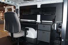 Dodge Ram ProMaster Mobile Office with custom overhead hutch for additional storage. GoErgo.com