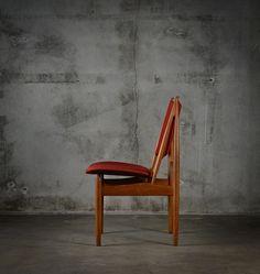 "Finn Juhl, set of 6 ""Egyptian"" side chairs for Niels Vodder, made of teak and wool upholstered. From Denmark, provenance: Copenhagen, circa 1960 Side Chairs, Copenhagen, Chen, Denmark, Egyptian, Teak, Wool, Furniture, Home Decor"
