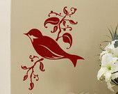 Bird on a Branch - vinyl wall art decal - vinyl decal - songbird decal