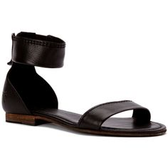 Frye Women's Carson Ankle Zip Sandals (385482602) (13.030 RUB) ❤ liked on Polyvore featuring shoes, sandals, black soft vintage leather, black shoes, flat leather sandals, black leather sandals, elastic sandals and frye sandals