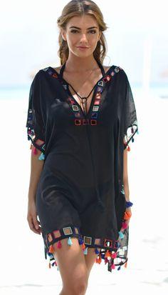Coco Bay Black Cut-Out Kaftan - Outfits Diy Summer Clothes, Summer Outfits, Cute Outfits, Diy Clothes, Boho Festival Fashion, Boho Fashion, Fashion Outfits, Steampunk Fashion, Gothic Fashion