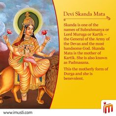 On the 5th day of #Navaratri we bow to the most handsome god Skanda Mata. She is the mother of Kartik and also known as #Padmasana.