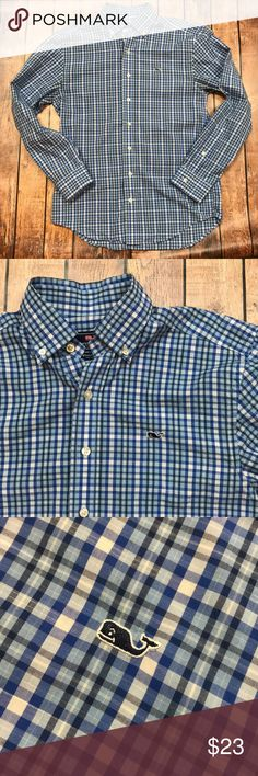 "Vineyard Vines Plaid Whale Button Down Shirt Gently Used.  Sleeve: 24"" Shoulder: 17 Chest: 19 Length: 28"" Vineyard Vines Shirts Casual Button Down Shirts"