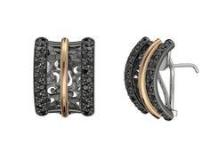 925/000 sterling silver Earrings Pink 18k. Gold Black Spinel Price : $490.10 #earrings #bohemmejewelry