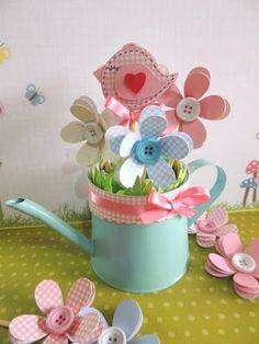 DIY Paper Flower Pencils - The Sweetest Occasion Kids Crafts, Easter Crafts, Diy And Crafts, Craft Projects, Projects To Try, Diy Y Manualidades, Bird Party, Baby Shower, Ideas Para Fiestas