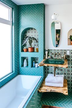 Modern Approach - Justina Blakeney's Jungalow Bathroom Reno With Fireclay Tile - Photos Dream Home Design, House Design, Bathroom Colors, Colorful Bathroom, Paint Bathroom, Bathroom Ideas, Bathroom Inspo, Bathroom Tray, Gold Bathroom
