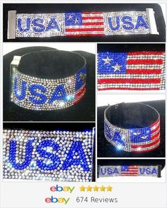 USA RED WHITE AND BLUE FLAG crystal Bracelet USA Seller Christmas In July #ebay