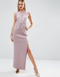 ASOS RED CARPET Lace Placed Sweetheart Maxi Dress