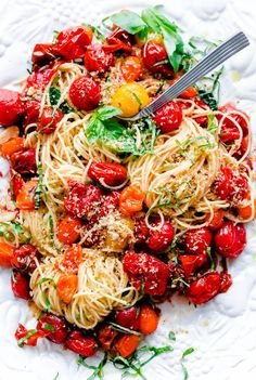 Spaghettini with Roasted Tomatoes, Fresh Basil, and Toasted Garlic Breadcrumbs.