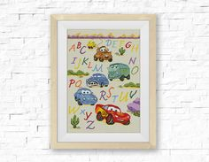BOGO FREE! Cars Alphabet ABC Cross Stitch Pattern, Pixar Сartoon Counter Cross Stitch, Embroidery Needlework, pdf Instant Download # 012-2 by StitchLine on Etsy https://www.etsy.com/listing/252143180/bogo-free-cars-alphabet-abc-cross-stitch