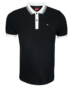 Merc London Black Nova Check Collar Polo T-Shirt