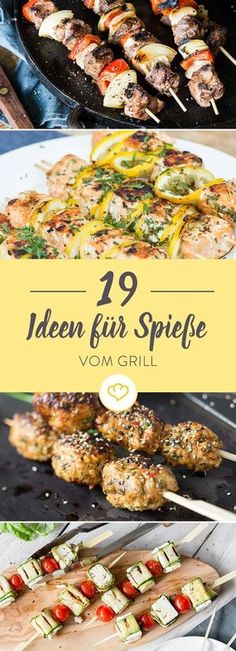 Ready to sizzle: 19 delicious skewers from the grill- Zum Brutzeln aufgelegt: 19 köstliche Spieße vom Grill Here you will find 19 delicious ideas for more variety for your grill. You will be surprised at what else grill strips look perfect on. Barbecue Recipes, Grilling Recipes, Pork Recipes, Healthy Recipes, Vegetarian Barbecue, Grill Party, Paleo Dinner, Barbacoa, Food Videos