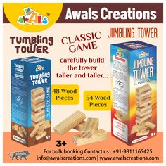 The most #popular #stacking #game that has been loved for generations. The best family moments are when elders & #children #play together. Encourages #creative #thinking, #skill & #patience. Stack the #highest #tower without toppling over and be the #winner. #Challenge yourself or play with #friends. #Toysmanufacturers #Indianmanufacturers #MadeinIndia #Toys #boys #girls #bulkorders #AwalsCreations