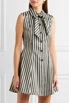 MCQ ALEXANDER MCQUEEN Pussy-bow striped satin-twill mini dress Black and white satin-twill Button fastenings along front polyester, cotton Dry clean White Mini Dress, Dress Black, Alexander Mcqueen Dresses, Black Lipstick, White Satin, Frocks, Dressing, High Neck Dress, Pretty