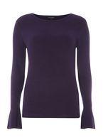 Womens Purple Wide Rib Knitted Jumper- Purple