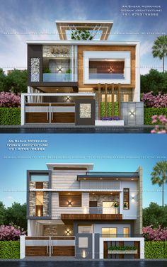 House Elevation Architecture By, Ar.Sagar Morkhade House Elevation Architecture By, Ar. 3 Storey House Design, Bungalow House Design, House Front Design, Small House Design, Cool House Designs, Modern Exterior House Designs, Modern House Facades, Dream House Exterior, Modern House Design