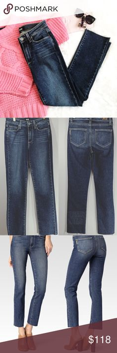 """Paige Jacqueline Straight - Axel Raw Hem Jeans Paige Jacqueline Straight - Axel Raw Hem Jeans   * Wide: 13 1/2"""" * Length: 37 1/2"""" * Inseam: 27"""" * Rise: 9 1/2"""" * Colors: Distressed Denim  * 5 pockets  * Raw Hem * 93% Cotton * 6% Polyester  * 1% Elastin  * Currently on the Paige website for $219 * NWOT   📍 Measurements are approximate ✂️ 15% Discount on 2 of more items ✖️Sorry No Trades Paige Jeans Jeans Straight Leg"""