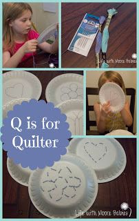 Quilting with plates! Awesome pre-sewing activity