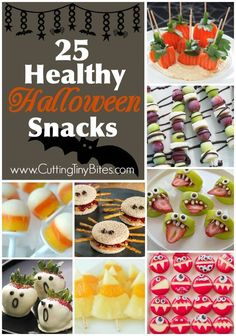 Healthy Halloween Snacks For Kids. Plenty of fruits and veggies to help avoid the candy overload!