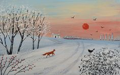Winter Sunset - acrylic on paper (SOLD).
