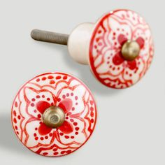 One of my favorite discoveries at WorldMarket.com: Red Basic Ceramic Floral Knob, Set of 4