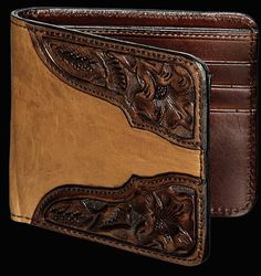 Vogt Smooth Scarred Russet with Applied Tooled Corners Wallet http://www.dumbblondeboutique.com/vosmscruwiap.html