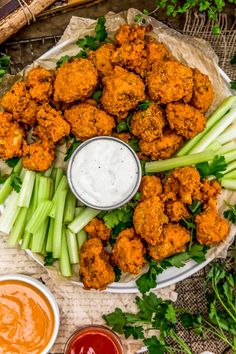 "These healthy, oil free Baked Buffalo Cauliflower Wings served with Vegan Ranch or Vegan Blue ""Cheese"" Dressing is like a flavor explosion in your mouth. Baked Buffalo Cauliflower, Cauliflower Wings, Plant Based Diet, Plant Based Recipes, Whole Food Recipes, Healthy Recipes, Healthy Breakfasts, Healthy Snacks, Vegan Buffalo Sauce"