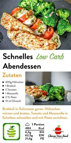 Low Carb Abendessen – Choose Your Level™ Low Carb Rezepte schnell, Low Carb Rezepte Abendessen, Low Carb Rezepte Mittagessen, Low Carb Rezepte Brokkoli, Low Carb [. Carb Free Dinners, Fast Dinners, Easy Meals, Healthy Dinner Recipes, Low Carb Recipes, Fast Recipes, Healthy Food, Quick Easy Dinner, Lunch